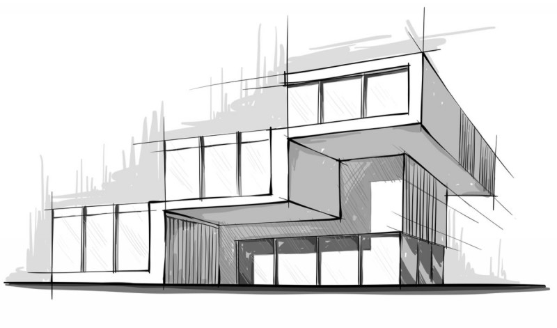 Architecture sketch struccore for Architecture house drawing